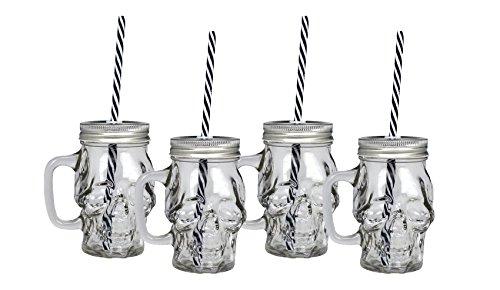 Foto de Ard'Time EC-4DJMORPOI Cubanios, Juego de 4 jarras en forma de calavera de cristal transparente, capacidad: 330 ml