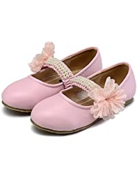 BULUTO Girl Shoes Flats Spring Fall Comfort Flower Girl Shoes Light Up Shoes Leatherette Wedding Dress Casual Party & Evening Flat Heel Beading Flower Gore , pink , us9.5 / eu26 / uk8.5 toddle