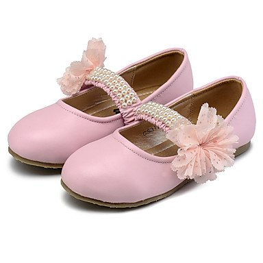 LIDOG Mariage Habillé Décontracté Soirée & Evénement-Rose Beige Pêche-Talon Plat-Confort Flower Girl Chaussures Light Up Chaussures-Ballerines- Peach