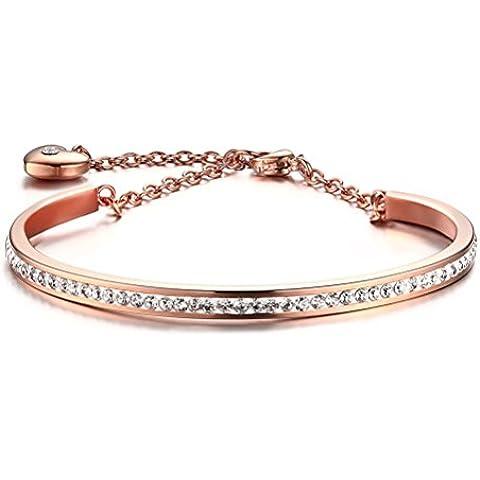 Vnox Pulsera cristalina del brazalete del encanto del corazón del acero inoxidable de la muchacha,cadena del acoplamiento del oro de Rose