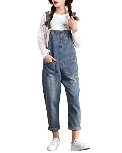 Mujer Petos Harén Mezclilla Tapered Vaqueros Monos Bolsillo Jumpsuits Botón Jeans Azul Marino 3XL