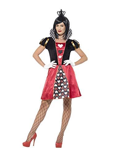 Smiffys 45490 - Damen Herz-Königin Kostüm, Kleid, Krone und Handschuhe, Größe: M, Rot