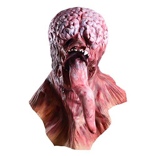 BHM Maske, Halloween Horror Requisiten - Ekelhaftes, Verfaultes Gesicht - Wandelnde, Tote Kopfbedeckung - Lange Zungenmaske - Geeignet Für Raumflucht - Halloween-Partyartikel