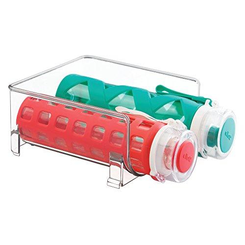 mDesign Flaschenhalter für Kühlschrank - stapelbarer Weinständer für 2 Flaschen - Getränkeaufbewahrung in Kühlschrank & Küchenschrank - durchsichtig