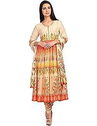BIBA Womens Round Neck Printed Churidar Suit