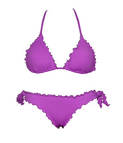 Bikini Triangolino Frou Frou con Slip o Brasiliana   Made in Italy   Bikinicolors Petunia