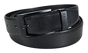 CROSS LUGO Men's Genuine Leather Cut-To-Fit Style Formal Belt with 30MM Buckle - Black