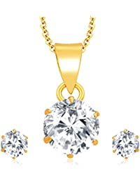 Sukkhi Graceful Gold Plated CZ Pendant Set For Women