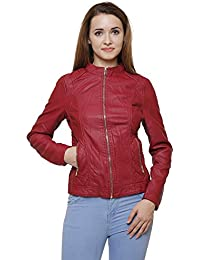 MansiCollections Classic Maroon Leather Jacket for Women