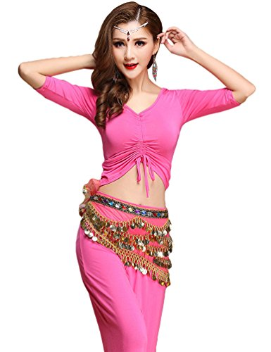 (YiJee Damen Tanzkleidung Bauchtanz Kostüm Set Stammes- Indischer Tanz Top & Paillette Bauchtanz Hose Münzen Rose L)