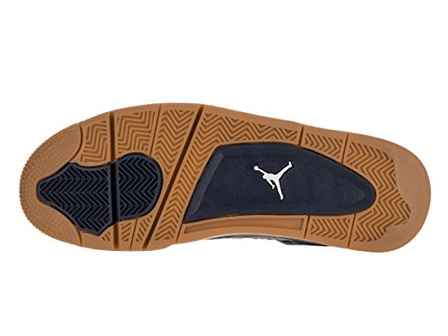 Nike Air Jordan 4 Retro, Chaussures de Sport Homme Bleu / Jaune / Blanc (Mid Nvy / Mtllc Gld-Gld Lf-White)