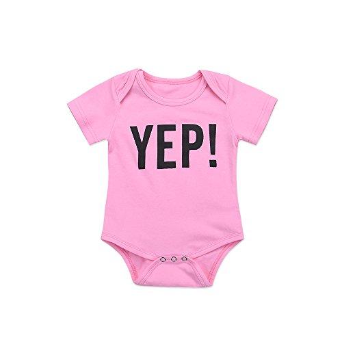 Yuan Neugeborenen Baby Brief Bruder Passende Kleidung Outfits Jumpsuit (80, Rosa)