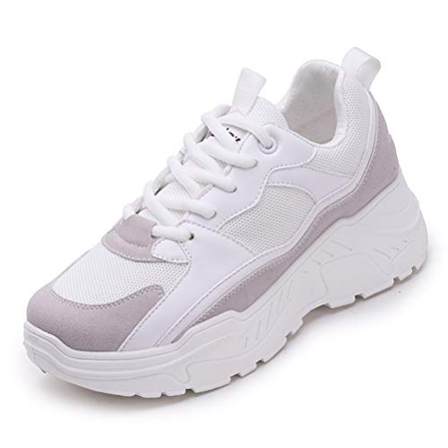 Erde Korb (Frauen Korb Plattform Chunky Sneakers FrüHling Herbst Lace-Up Mesh NäHen Patchwork LäSsige Vulcanize Schuhe)