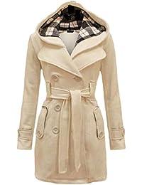 fd33c87ba13b Baijiaye Long Manteau Laine pour Femmes Hiver Col Fourrure Cintrée Trench  Coat Bas Jupe avec Ceinture
