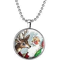 YC Top Design originale grazioso Babbo Natale e alce Noctilucent Pendente Collana - Natale Mouse Story