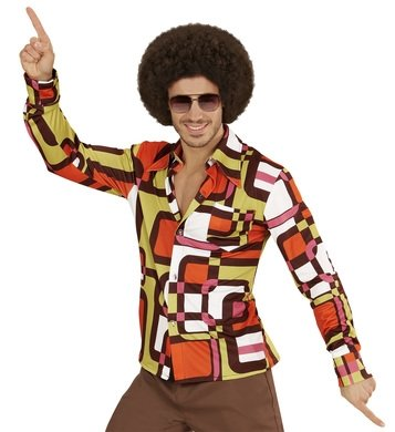 70er Jahre Disco Outfits (Hemd Siebziger 70er 80er Jahre Verkleidung Herren Schlager Disco Herrenhemd (L/XL, tubes gelb braun)