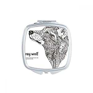 empresa diseño: Gray Wolf amigo empresa cuadrado espejo de maquillaje compacto portátil, diseño ...