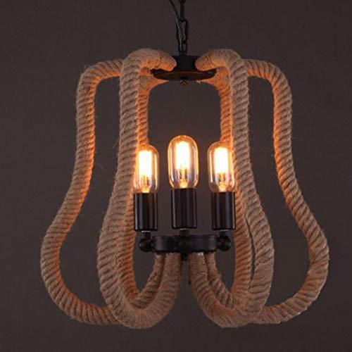 BOC William 337 Beleuchtung Industrie 3 Lichter hanfseil pendelleuchte deckenleuchte kronleuchter hängende leuchte in offenen Birne Stil für Indoor Outdoor Restaurant bar Cafe -