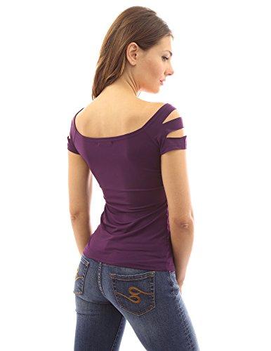 PattyBoutik Damen Stretch Bluse mit dekorativem Ausschnitt und kurzen Ärmeln Lila
