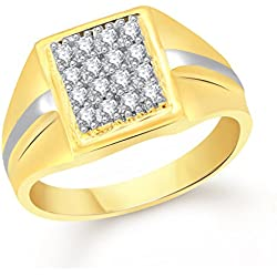 VK Jewels Jewels Wedding Gold Brass Alloy CZ American Diamond Ring For Men VKFR2020G23