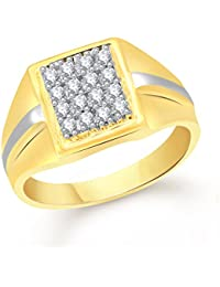 VK Jewels Wedding Gold and Rhodium Plated Alloy Ring for Men- FR2020G [VKFR2020G]