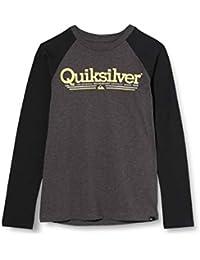 Quiksilver Tropical Lines-Camiseta De Manga Larga para Niños 8-16, Charcoal Heather, L/14