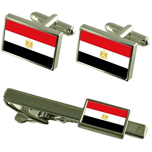 Select Gifts Egipto Bandera Gemelos Clip de Corbata Matching Box Set de Regalo
