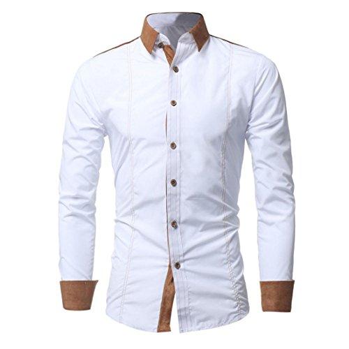 Slim Hemden Herren Btruely Trachtenhemd T-Shirt Mode Langarmshirt Formell Business Hemden Freizeit Stehkragen Shirt Casual Shirt (Asien Größe XL, Weiß)