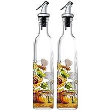 Aceite de oliva y vinagre - dispensador de botellas de aceite y vinagre de otoño watchwing - diseño del día , 2 paquete 16 Oz vinajeras