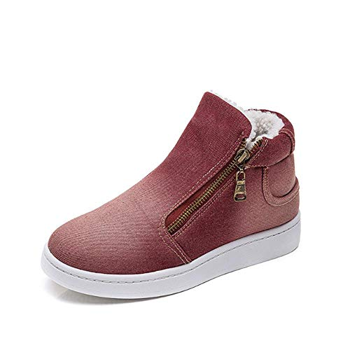 LIANGJIE Stivali da Neve Nuovi Scarpe Invernali di Cotone Spesso da Donna Scarpe di Cotone Denim Scarpe di Cotone Piatte di Grandi Dimensioni, B_40
