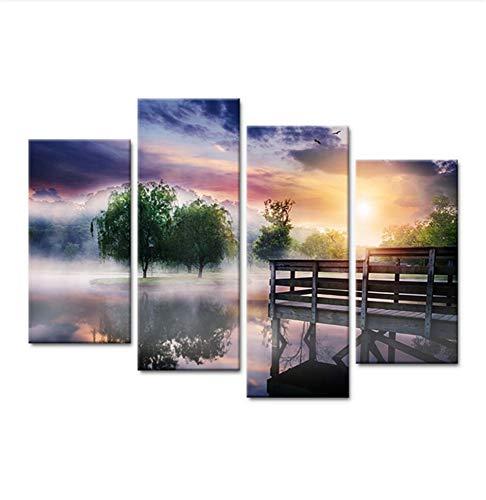 LJLSLH Leinwanddrucke 4 Stück Sunrise Lake Trees Nebel Landschaft Home Decor Hd Gedruckte Poster Größe 1 (Kein ()