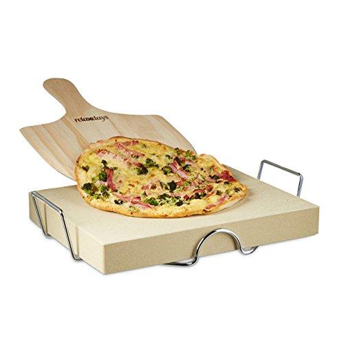 Relaxdays Pizzastein Set 5 cm Stärke mit Metallhalter und Pizzaschieber aus Holz HBT 7 x 43 x 31,5 cm rechteckiger Brotbackstein für Pizza und Flammkuchen mit Pizzaschaufel für Pizzaofen, natur