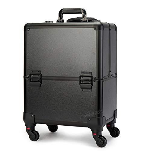DDOQ Tidy Estuche de cosméticos Caja de equipaje Carretilla Maleta de almacenamiento de viaje Organizador de peluquería 4 Ruedas universales desmontables para salón Belleza Artista (Color : Black)