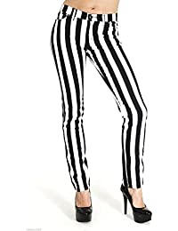 """Run & Fly New Womens Skinny Stretch Mid Rise Black And White 1"""" Stripe Jeans Indie Retro"""