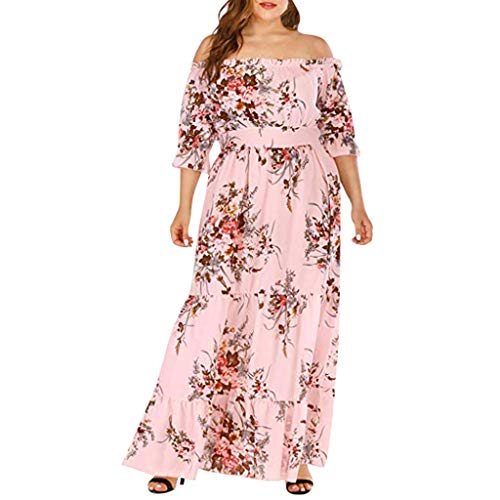 COOKDATE Übergröße Kleider Damen Frauen Elegant Off Shoulder Blumen Kleider Cocktailkleid...