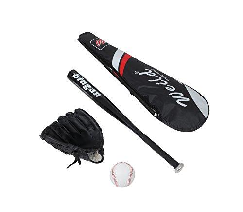 Baseballschläger Aluminium Baseball Handschuh Leder Baseball Gummi PVC geeignet für Anfänger, Kinder, Jugendliche Kit Baseball mehrere Kombinationen von Farben, Schwarz , 63cm/25 pollici (Baseball-handschuh Schwarze)