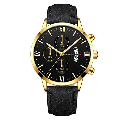 Männer Kette Fghyh Mode Uhren Männer Lederarmband Quarz-Armbanduhr(I)