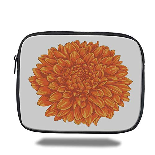 Laptop Sleeve Case,Dahlia Flower Decor,Funk Art Old Vintage Floral Leaf Love Valentines Mother Days Home Decor,Orange,Tablet Bag for Ipad air 2/3/4/mini 9.7 inch (Decor Valentine Home)