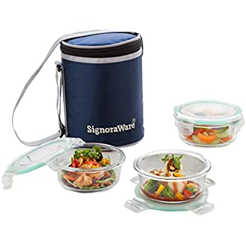 signoraware executive glass lunch box set with bag 390ml16cm 3pieces