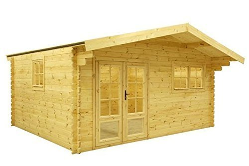 Gartenhaus / Blockh?tte Fonteyn Silvia Satteldach 505 x 415 cm + 90 Vordach Hochdr...