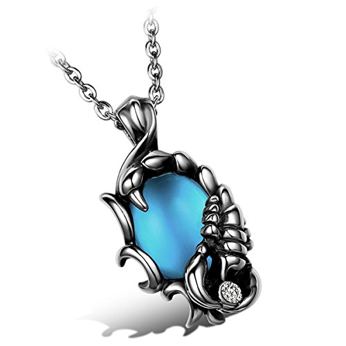 Flongo collana uomo scorpione pendente mosaico vetro blu distintivo stile