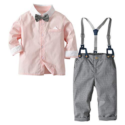 Haodasi Kleinkind Jungen Outfits Anzug Säugling Kleidung Set - Gentleman Rosa Hemd + Krawatte + Straps Hose Baby Kleidung Sets 0-5 Jahre alt - Säuglings-baby-formel