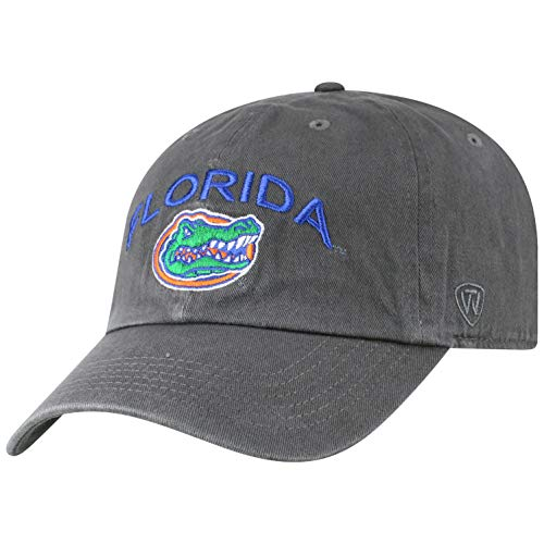 (Top of the World NCAA Florida Gators Men's Relaxed Fit Charcoal Arch Adjustable Hat, Charcoal)