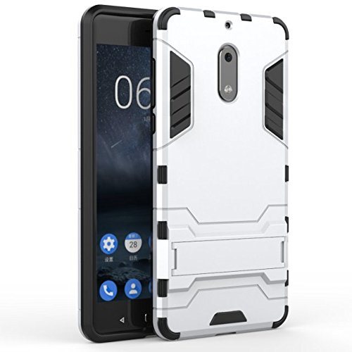 YHUISEN Nokia 6 Case, 2 In 1 Iron Armour Tough Style Hybrid Dual Layer Armor Defender PC + TPU Schutzhülle mit Stand Shockproof Case für Nokia 6 ( Color : Gold ) Silver