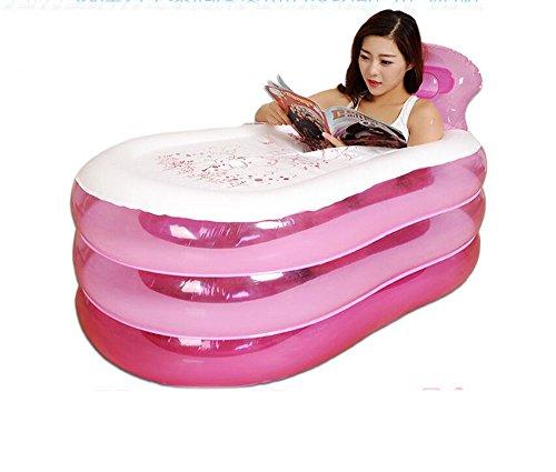 Lap-pool (Kinderbecken Rosa aufblasbare dicke erwachsene Umwelt-PVC-Material Wanne Wanne drei Lap Falten Bad Becken mit Fuß Pumpe Hauspool ( Farbe : Pink , größe : 145cm ))