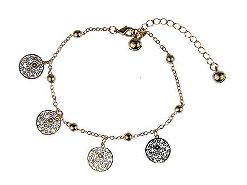 Miniblings Glöckchen Mandala rund Fußkettchen Fußkette Armband Blume golden rosé