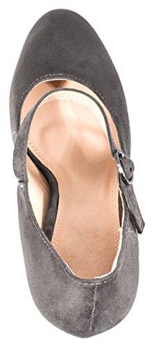 Elara Damen High Heels | Bequeme Spangen Pumps | Riemchen Stilettos | chunkyrayan Grau