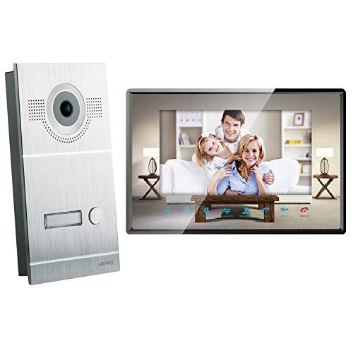 2 Draht Video Türsprechanlage Gegensprechanlage Fischaugenkamera 170 Grad, Farbe: Silber, Größe: 1x7'' Monitor Spiegel