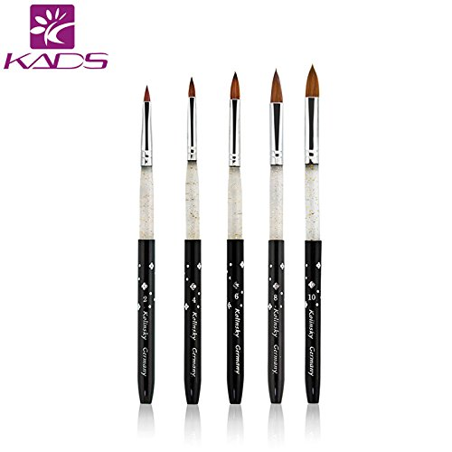 KADS 100% Kolinsky Sable acrylic brush 5pcs/SET size 2#/4#/6#/8#/10#.acrylic brush black kolinsky sable acrylic kolinsky nail brush (Kolinsky Acryl Nagel Pinsel)