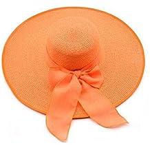 OMAS para mujer Pajarita gran sombrero de paja plegable flojo rueda para arriba la playa del sombrero del casquillo del sol UPF 56+